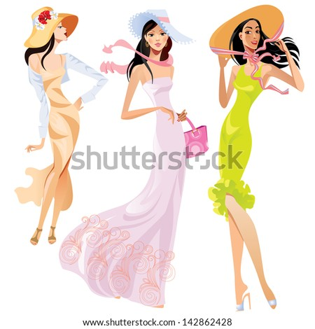 fashion ladies in hats - stock vector