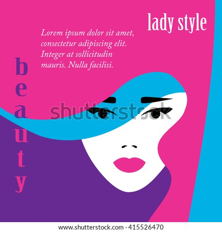 Fashion lady retro style, beautiful woman face, makeup, visage, Vector illustration. - stock vector