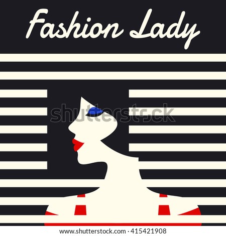 Fashion lady retro style, beautiful woman face, Vector illustration. - stock vector