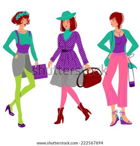 Fashion lady set in stylish autumn cloth wear. Autumn dressing style. - stock vector