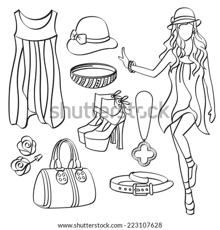 Fashion Lady with Clothing and Accessories - stock vector