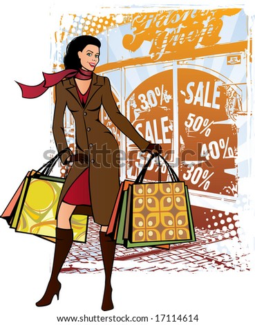 Fashion lady with shopping bags