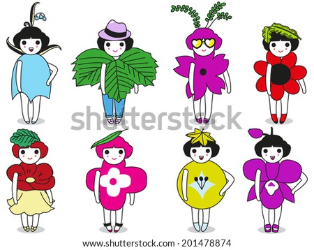 Fashion , Leaves and Flowers character illustration set - stock vector