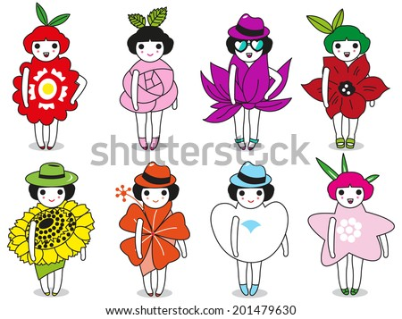 Fashion, Leaves and Flowers character illustration set - stock vector