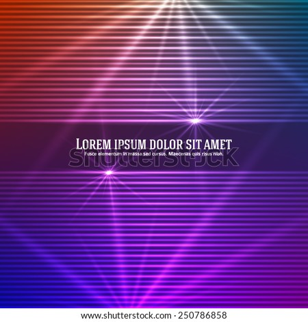Fashion lights background of bright glowing blur effect lines with space place for your text. Vector illustration Eps 10. Futuristic style glow disco club or night party. Graphic image template - stock vector