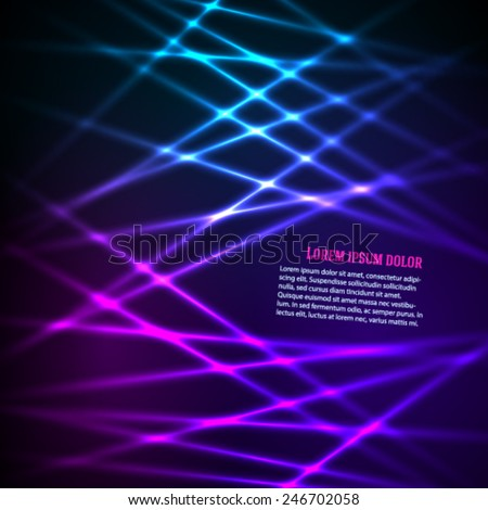 Fashion lights background of bright glowing blur lines. Vector illustration Eps 10. Futuristic style glow neon disco club or night party. Gorgeous graphic image template - stock vector