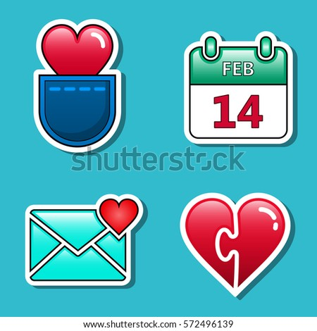 fashion love stickers set badges valentine stock vector royalty