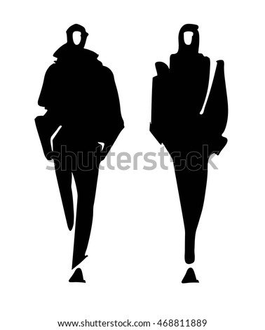 fashion man model silhouettes hand drawn stock vector 468811889 rh shutterstock com Vector Man Male Silhouette Vector