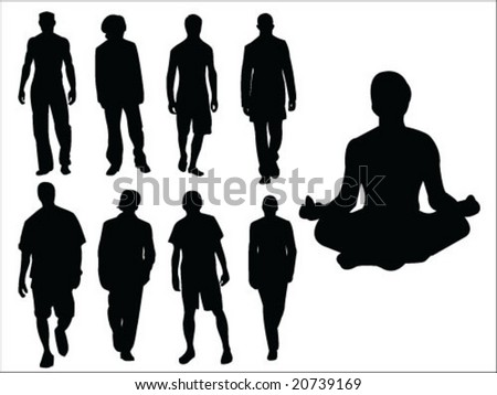 fashion man silhouette collection vector