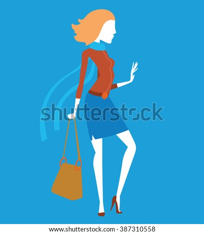 Fashion model girls vector illustration. Fashion model girls isolated on white background. Fashion model girls vector icon illustration. Fashion model girls isolated vector. Girls silhouette - stock vector