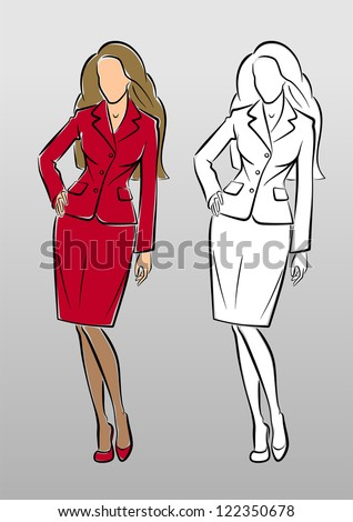 Fashion Model in Business Suit. Vector image in sketchy/hand-drawing style - stock vector