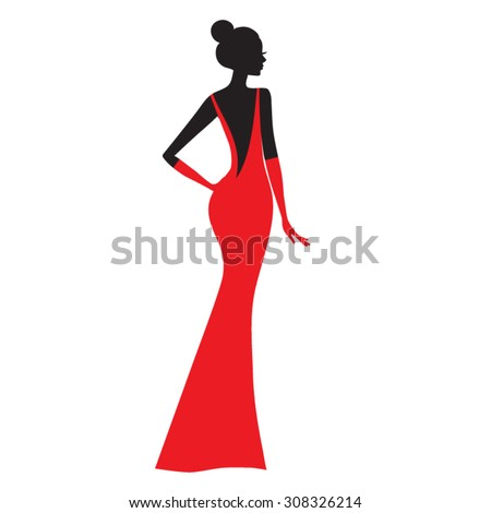 Fashion model.  Silhouette of beautiful woman in  red dress vector illustration. - stock vector