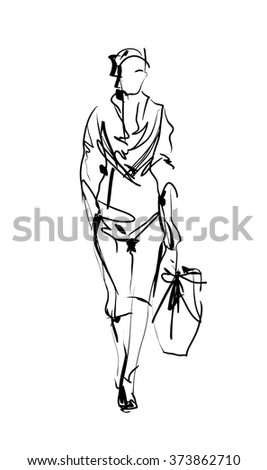 Fashion model. Sketch. - stock vector