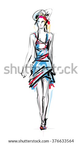 Fashion model. Sketch - stock vector
