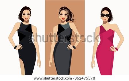Fashion models-Fashion illustration - stock vector