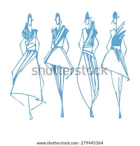 Fashion models hand drawn sketch , vector illustration white