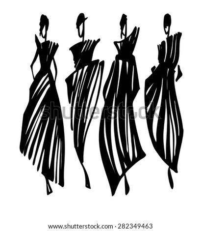 fashion models silhouettes hand drawn vector. Black Bedroom Furniture Sets. Home Design Ideas