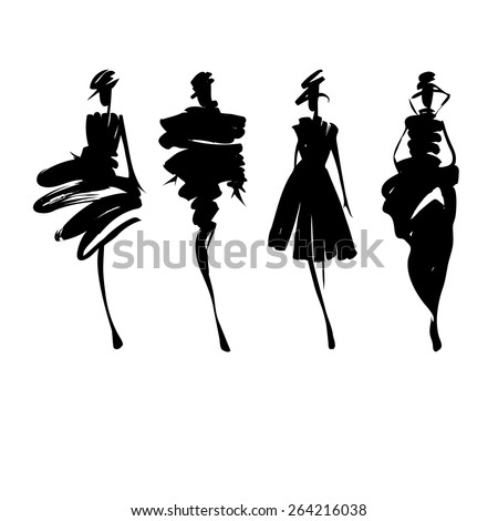 Fashion models silhouettes sketch hand drawn  , vector illustration - stock vector