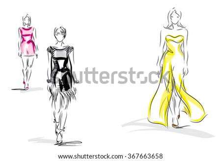 Fashion models.vector illustration - stock vector
