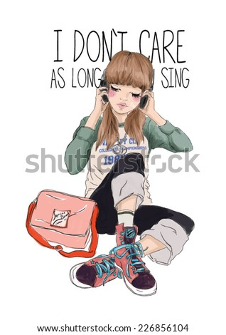 fashion music illustration girl - stock vector