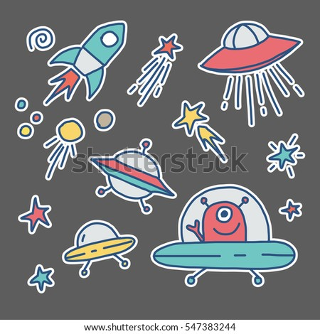 Fashion patch badges. Space set. Cute Space collection with UFO, Flying Saucers,  rockets and stars. Trend. Vector illustration isolated.