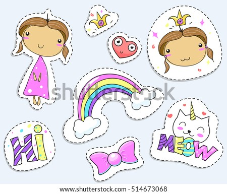 Fashion patch badges with cat unicorns, heart, girl, rainbow and other elements for girls. Vector illustration isolated on white background. Set of stickers, pins, patches. Cartoon  illustrations.