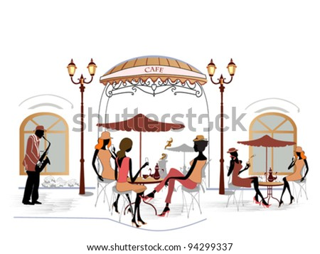 Fashion people in cafe with a musician - stock vector