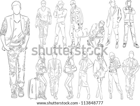 Fashion people outline - vector set