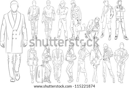 Fashion people outline - vector set - stock vector