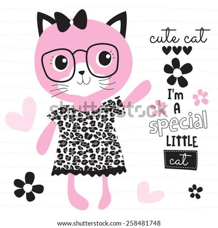 fashion pink cat vector illustration - stock vector