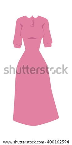 Fashion pink dress and long pink dress with long sleeves. Elegant classic pink summer dress pretty clothing. Bright pink hanger dress beauty and fashion women glamour series flat vector illustration. - stock vector