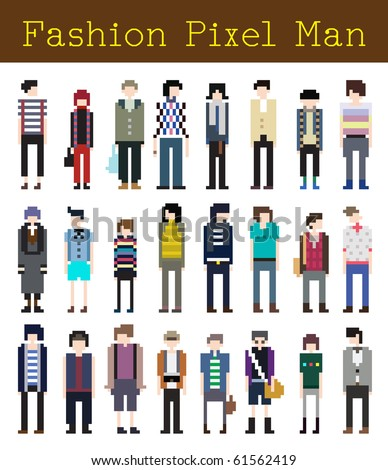 Fashion Pixel Man Part 2 - Vector Illustration