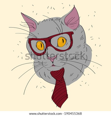 Fashion Portrait of Hipster Cat in Big Nerd Glasses and Striped Tie - stock vector