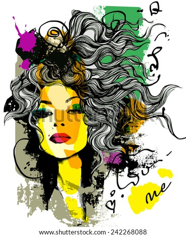Fashion print sketch with a model - stock vector