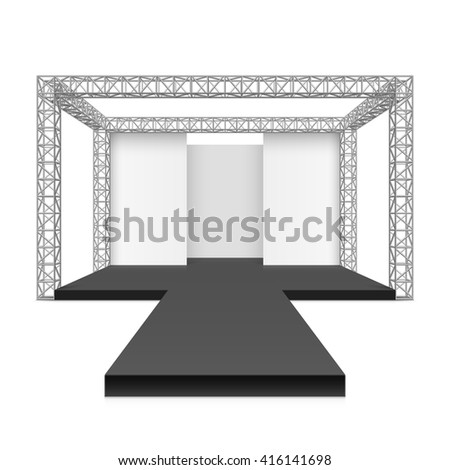 Fashion runway podium stage, metal truss system vector illustration - stock vector