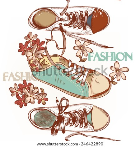 Fashion seamless pattern hand drawn sport boots - stock vector