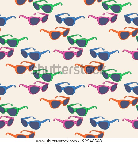 Fashion seamless pattern with colorful  women's glasses. Fashion illustration,vector.