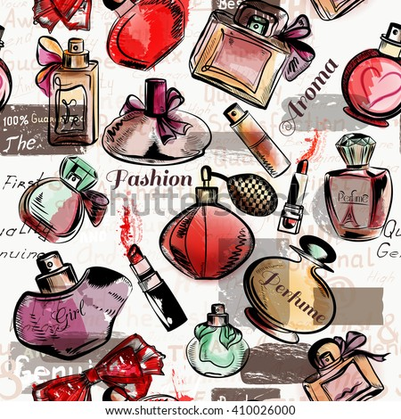 Fashion seamless vector background with  red lipstick and perfumes - stock vector