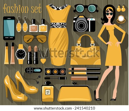 Fashion set. vector  - stock vector