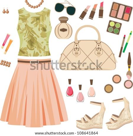 Fashion set. vector, no gradient - stock vector