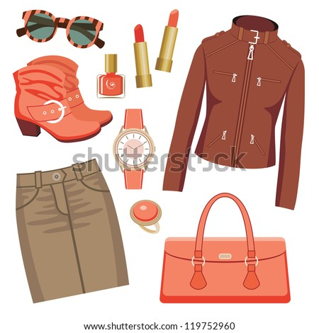 Fashion set with skirt and a jacket. vector - stock vector