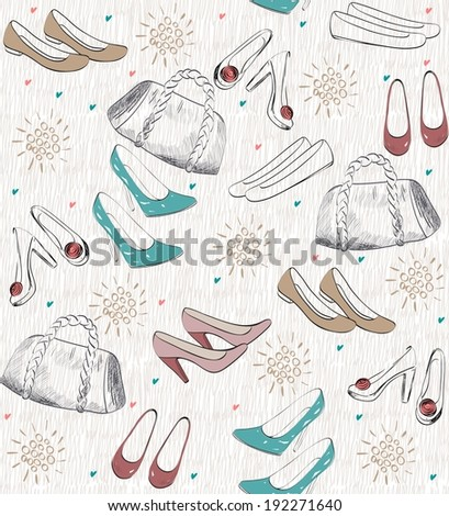 Fashion  shoes and bags. Hand drawn illustration. - stock vector