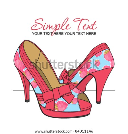 Fashion shoes with strawberry-print. Vector illustration. Place for your text. - stock vector