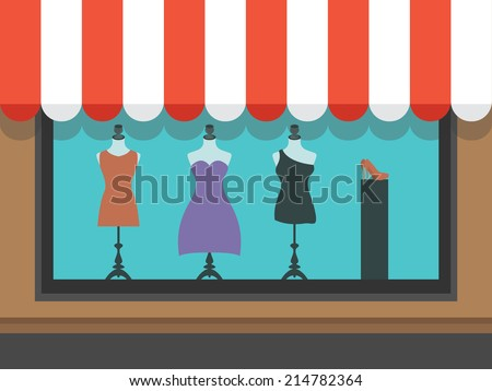 Fashion shopfront window with mannequins, vector illustration - stock vector