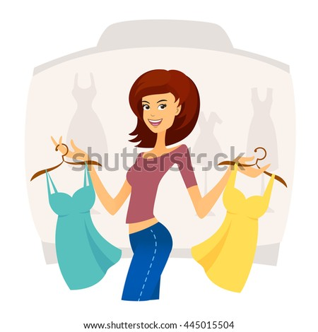 Fashion shopping girl on sales in shopping mall. Woman buying clothes - stock vector