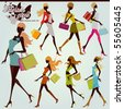 fashion shopping girls illustration set - stock vector