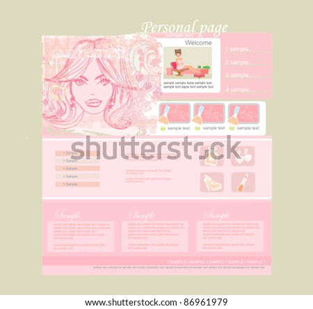 Fashion shopping Website template - stock vector