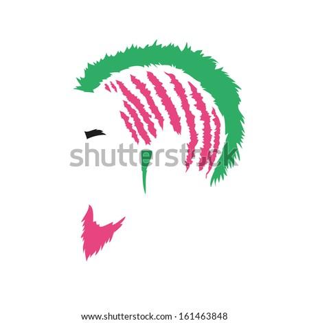 Fashion silhouette punk style, vector illustration - stock vector