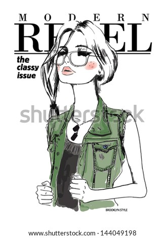 fashion sketch army illustration girl - stock vector