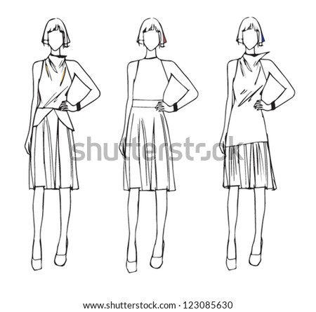 Fashion sketch design elegance style - stock vector